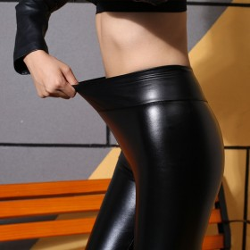 秋冬女高腰PU皮裤黑色弹力大码打底裤加绒加厚
