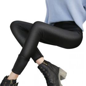 秋冬季加绒加厚光泽裤韩版外穿带绒显瘦神器打底裤高腰