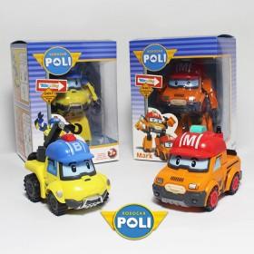 两个一套变形警车珀利机器人套装波利poli变型警察