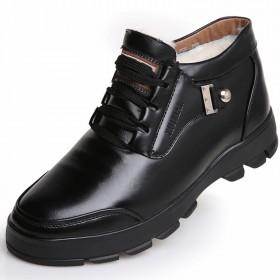 真皮毛一体加绒加厚高帮鞋休闲男士保暖真皮羊毛鞋