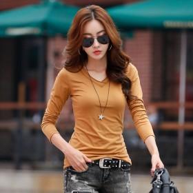 长袖V领t恤女修身显瘦纯色纯棉打底衫