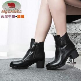 MG CAMEL棉鞋女真皮冬季加绒保暖女鞋尖头高跟