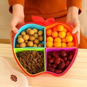 大号创意时尚密封带盖分格塑料糖果盒欧式干果盘瓜果盘