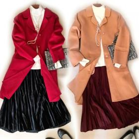 双面羊绒大衣女中长款韩版茧型纯手工毛呢外套清仓折扣