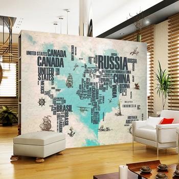 【包邮】 客厅电视背景墙壁画欧式简约字母地图装饰墙画无缝墙纸