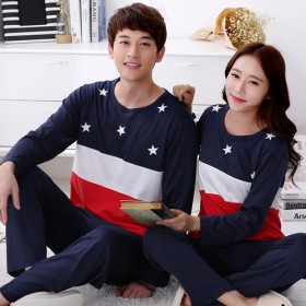 韩版春秋季情侣睡衣女款牛奶丝休闲男士长袖卡通可爱家