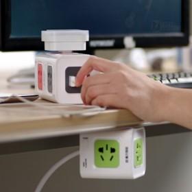 魔方插座电源立式接线板插排拖USB多方位插座插板