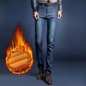 新款冬季弹力牛仔裤男士品牌加绒牛仔长裤