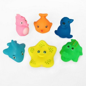 日韩搪胶婴幼儿戏水玩具洗澡玩偶捏捏叫发声玩具6个装