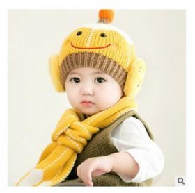 婴儿秋冬韩版毛线帽6-24个月宝宝冬季帽子围巾套装