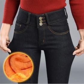 加绒加厚冬天高腰修身显瘦牛仔裤女