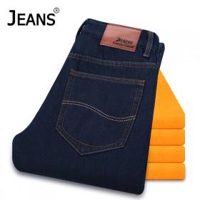 【JEANS】冬季新款青年加绒加厚牛仔裤男士