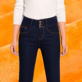 加绒加厚牛仔裤女排扣高腰弹力修身显瘦