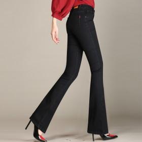 春款高腰大码微喇牛仔裤女长裤修身显瘦喇叭裤中年女裤