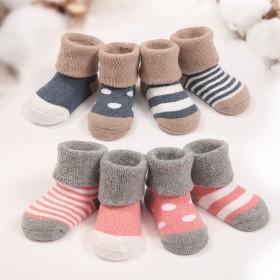 欧单外贸婴儿0-3岁纯棉无骨加厚毛圈袜子4双装