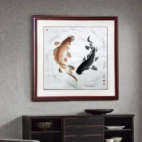 手绘风水鱼国画八卦图装饰走廊卧室玄关转运图已裱画片