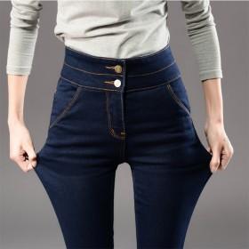 高腰高弹力修身显瘦牛仔裤女小脚裤