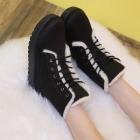2016冬季韩版雪地靴女短靴短筒圆头系带棉鞋女