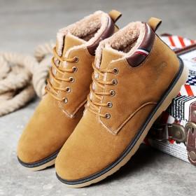 九张帆冬季男士棉鞋加绒保暖靴子短靴加厚雪地靴