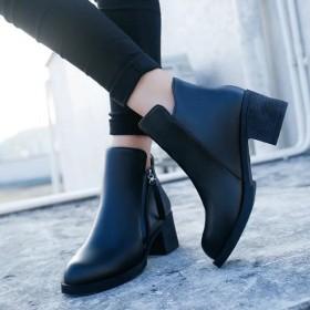 秋冬女鞋中跟英伦马丁靴女中筒女短靴机车靴子时尚皮靴