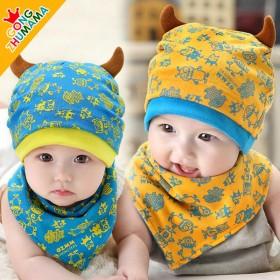 宝宝针织帽童帽春秋小怪兽 双角套头帽三角巾2件套