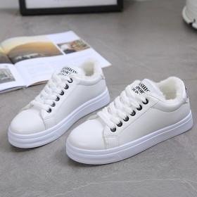 冬季女鞋加绒学生球鞋休闲运动鞋韩版小白鞋保暖系带棉