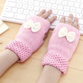 韩国时尚百搭蝴蝶结女士针织半指手套保暖时尚多色可选