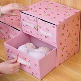 两层三抽内衣裤袜收纳盒桌面杂物化妆品收纳箱可折叠