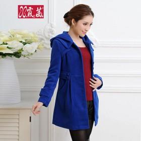 2016秋冬韩版带帽加厚外套中长款小香风毛呢大衣