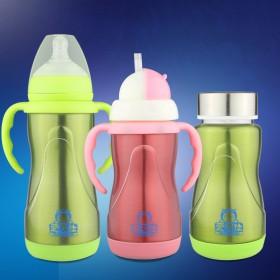 新生儿婴儿宝宝儿童两用不锈钢保温奶瓶宽口径带吸管