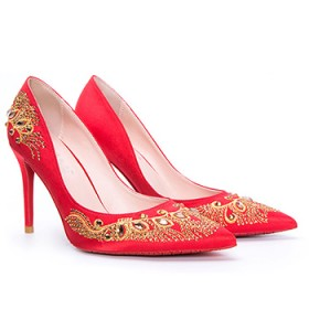 中国风刺绣水钻尖头高跟鞋