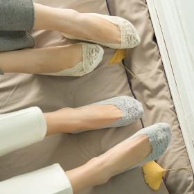蕾丝隐形女船袜硅胶防滑隐形低帮纯棉女袜(拍5双)