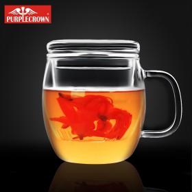 带盖玻璃杯花茶杯创意过滤蘑菇杯高硼硅玻璃杯