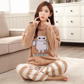 秋冬季女士法兰绒加厚珊瑚绒睡衣长袖睡衣套装可爱卡通