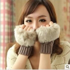 新款韩版短款半指手套针织短