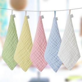 4条装纱布方巾婴儿洗脸巾小毛巾纯棉