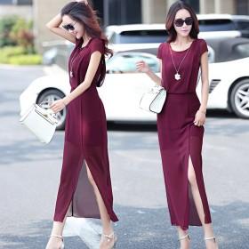 长裙夏季韩版开叉新款雪纺连衣裙女短袖气质时尚大码修