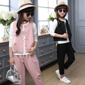 春秋新款儿童休闲时尚女童三件套中大童韩版哈伦套装