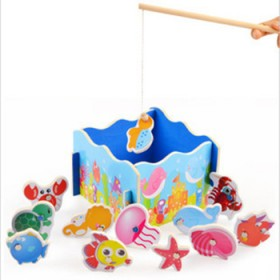 木制益智 制玩具拼图拼图钓鱼拼图钓鱼玩具