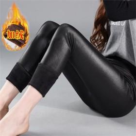 冬装新款加肥加大码女裤超大码仿皮裤加绒打底裤