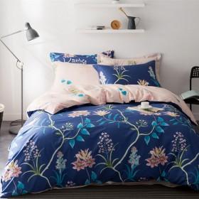 北欧简约全棉四件套宜家风小清新100%纯棉床单被套