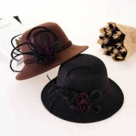 冬季麻纱花朵羽毛毛呢帽子
