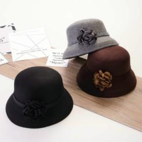 渔夫盆帽花朵淑女优雅毛呢毡帽子