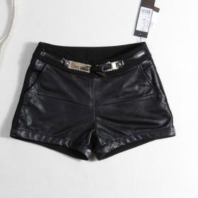 时尚品牌特价韩版修身显瘦拼接弹力皮短裤女