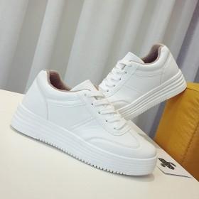 加绒系带小白鞋女韩版学生百搭厚底增高女鞋休闲鞋