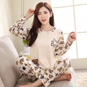 春秋季睡衣女长袖可爱卡通韩版秋天常规圆领薄款