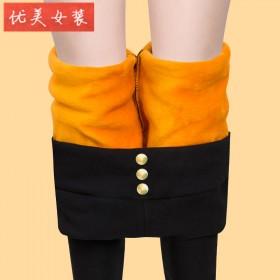 加绒加厚打底裤女外穿高腰紧身小脚裤大码女裤