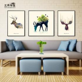 北欧麋鹿仙踪装饰画客厅沙发背景墙画现代简约组合三联