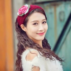 秋冬保暖针织毛线发带韩国头饰宽弹力宽花朵发带