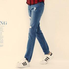唐狮男装三款男青年冬装新款中腰直通牛仔长裤